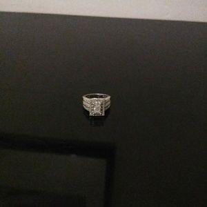 1 ctw Diamond Ring Rhodium Plated 925 Silver